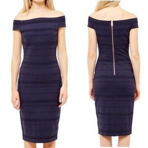 TED BAKER $295 Navy Blue Ribbed Bodycon Dress - 8